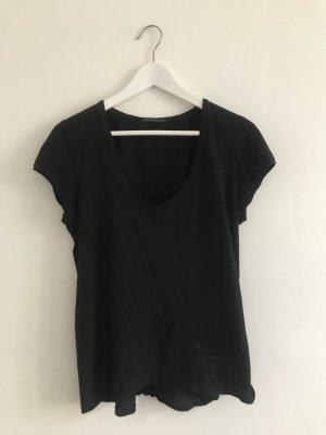 Basic T-Shirt, schwarz, angeschnittene Ärmel