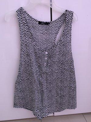 Basic Top schwarz-weiß Zebra-Muster in S/36 mit Knöpfen