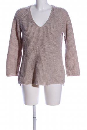 Basic V-Neck Sweater natural white flecked casual look