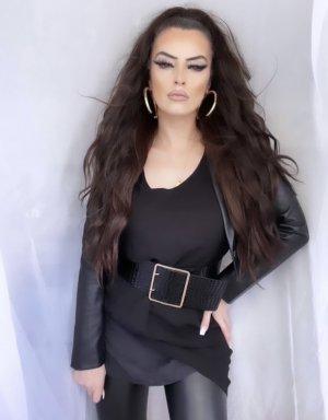 basic vokuhila longshirt tunika in schwarz