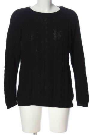 Basic Warkoczowy sweter czarny Warkoczowy wzór W stylu casual
