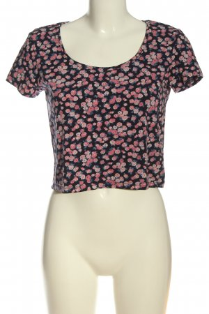 basics clockhouse Cropped shirt zwart-roze volledige print casual uitstraling