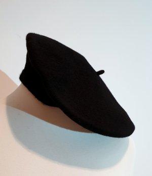 WOOLMARK Béret noir laine