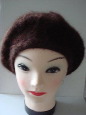Baskenmütze Hut Mütze -  braun -sehr weich und flauschige Wolle