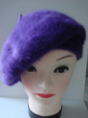 Baskenmütze Hut Mütze -  lila -sehr weich und flauschige Wolle