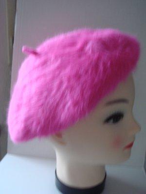 Baskenmütze Hut Mütze -  pink -sehr weich und flauschige Wolle