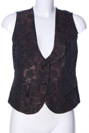Basler Gilet de costume brun-noir motif de fleur élégant