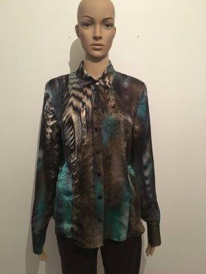 Basler Black Label Seide soll Bluse Muster surrealistisch lila Petroleum braun blau Animal edel psychedelic