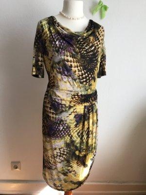Basler Kleid 40 Bunt Midikleid Schwarz Braun Gelb Halbarm