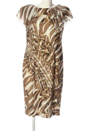 Basler Kurzarmkleid braun-wollweiß abstraktes Muster Casual-Look