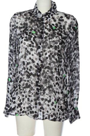 Basler Shirt met lange mouwen wit-zwart volledige print casual uitstraling