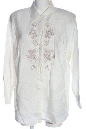 Basler Shirt met lange mouwen wit-bruin elegant