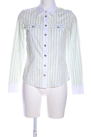 Basler Chemise à manches longues blanc-vert motif rayé style d'affaires