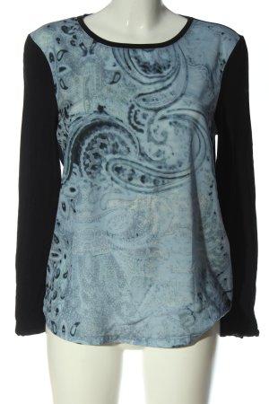 Basler Longsleeve blau-türkis abstraktes Muster Casual-Look