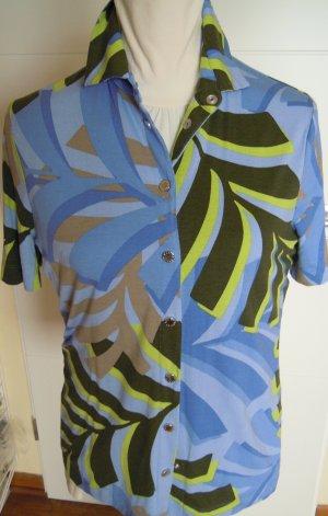 BASLER Polo Shirt blau / grün / kiwi  Gr. 40  Viskose / Elastan