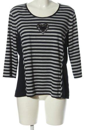 Basler T-shirt rayé gris clair-noir moucheté style décontracté