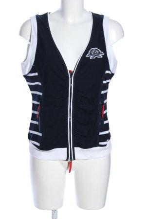 Basler Gilet de sport noir-blanc motif rayé style décontracté