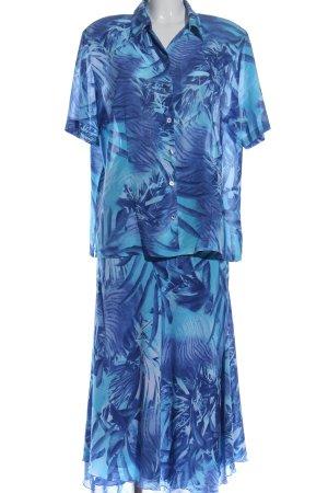 Basler Strick Twin Set blau Blumenmuster Casual-Look
