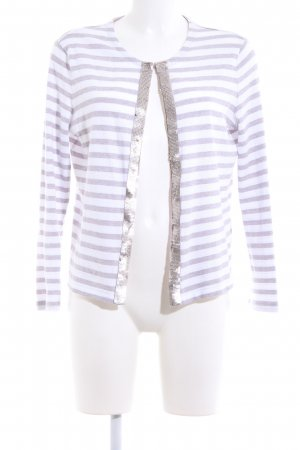Basler Strickjacke lila-weiß Streifenmuster Casual-Look