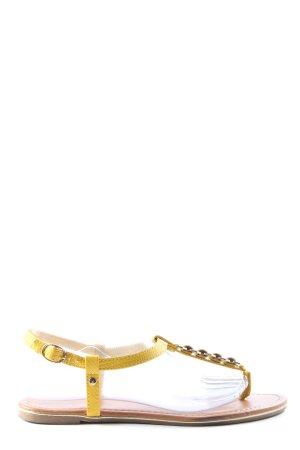 bassano Sandales Dianette jaune primevère motif animal style décontracté