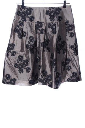 Basset Jupe évasée gris clair-noir motif de fleur élégant