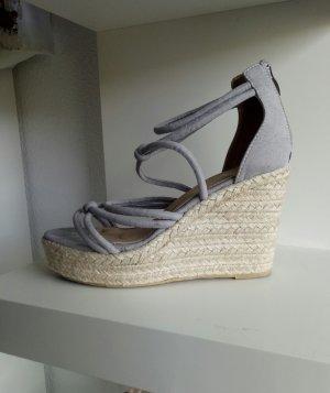 Bast Espadrilles Grau 38 Wedges Keilabsatz Sandale Sandalette Beige