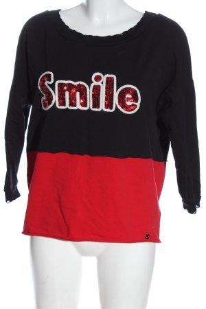 Bastet Sweatshirt schwarz-rot Schriftzug gedruckt Casual-Look