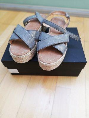 Unbekannte Marke Platform High-Heeled Sandal silver-colored-light grey