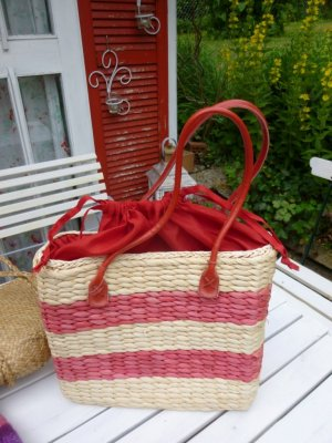Bolso tipo cesta marrón arena-rojo