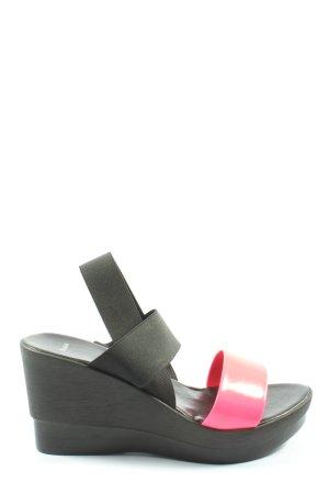 Bata Sandalo alto con plateau nero-rosa stile casual