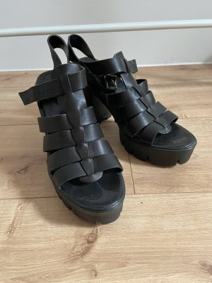 Bata Sandalen Plateau schwarz Leder 39
