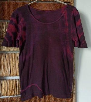 Batik shirt braambesrood-framboosrood