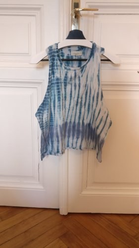 Urban Outfitters Top recortado blanco-azul