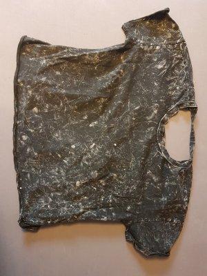 Zara Camisa recortada gris antracita Algodón