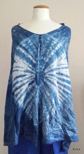 Aus Indien Top batik bleu-blanc