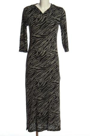 Batik Jurk met korte mouwen lichtgrijs-zwart dierenprint casual uitstraling