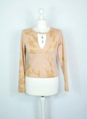 Batik Pullover mit Ausschnitt am Dekoltée in Ocker