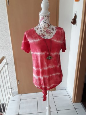 handmade unikat Batik shirt wit-rood