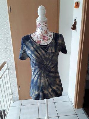 Hand made Batik shirt abrikoos-blauw