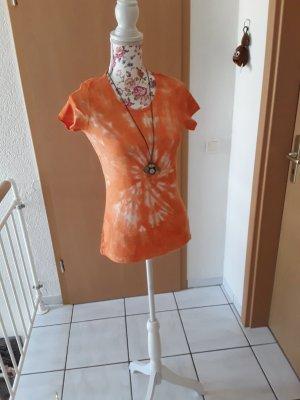 Hand made Batik shirt wit-oranje