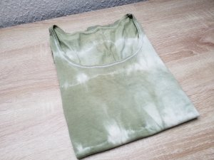 Batik Shirt T-Shirt in olive und weiß