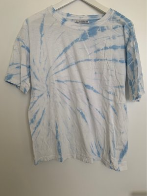 Pull & Bear Batik Shirt white-baby blue