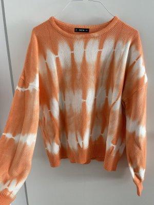 SheIn Crewneck Sweater orange-white