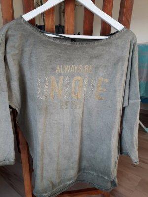 Jean Pascale Batik Shirt khaki-gold-colored cotton