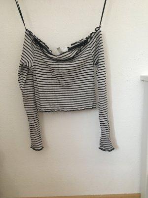 H&M T-shirt biały-czarny Bawełna