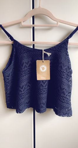 AIKI KEYLOOK Cropped Shirt dark blue