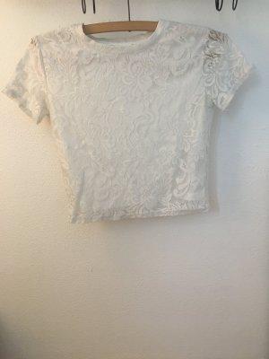 Bauchfreies Spitzen T-Shirt