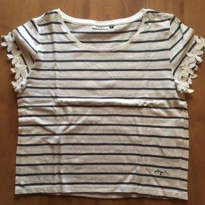 Only T-shirt biały-ciemnoniebieski