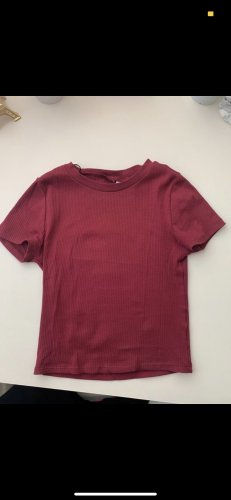 H&M T-shirt court rouge carmin-bordeau