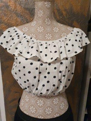 Melrose Top z falbanami biały-czarny